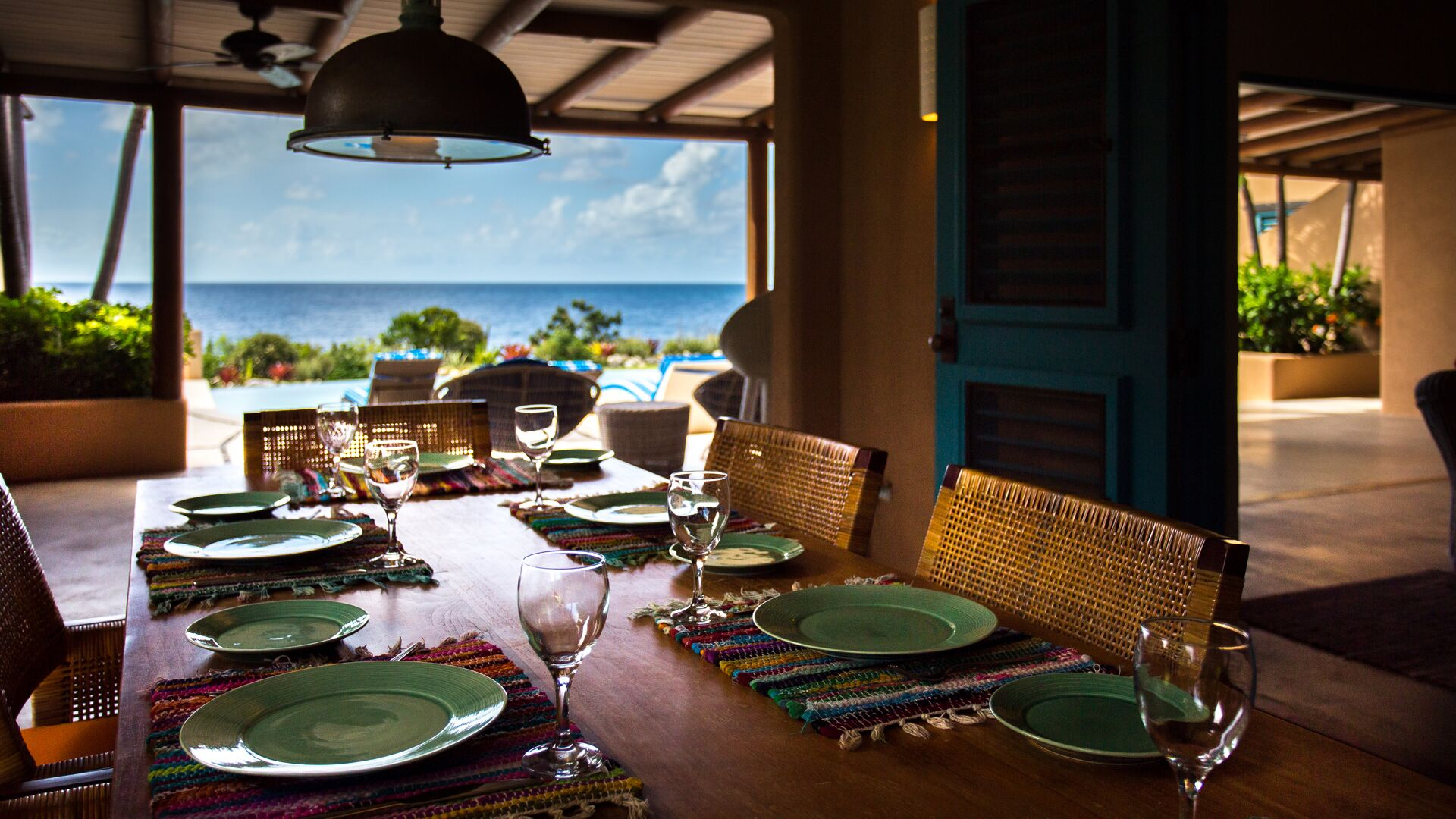 Dining in a luxury villa